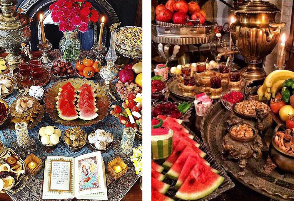 как накрывают на стол во время праздника ялды в Иране