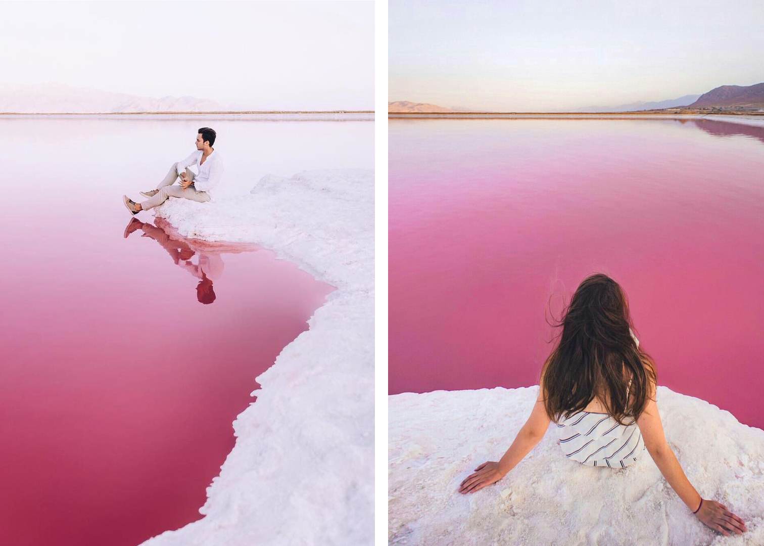 Розовое озеро Махарлу Иран 3